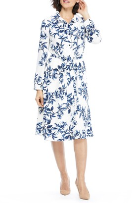 Maggy London Floral Long Sleeve Shirtdress