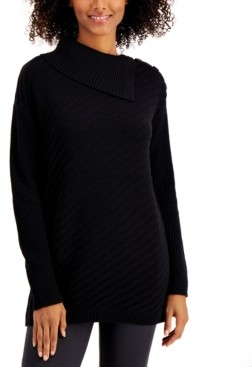 Style&Co. Style & Co Ribbed Button-Detail Tunic Sweater Created for Macy's