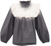 Sea Zelda Tie-dye Frilled-bib Cotton-poplin Blouse - Womens - Grey White