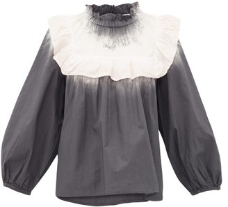 Sea Zelda Tie-dye Frilled-bib Cotton-poplin Blouse - Grey White