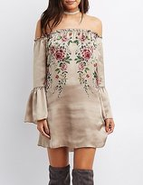 Charlotte Russe Floral Off-The-Shoulder Shift Dress