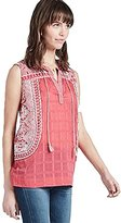 Lucky Brand Women's Sleeveless Embroidered Blouse