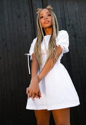 Missguided Dani Michelle X White Pleated Waist Bubble Hem Mini Dress