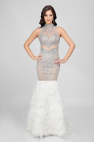 Terani Couture Embellished Feather Fringed Mermaid Gown 1721GL4452