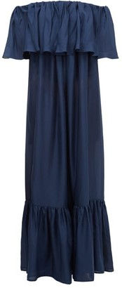 Kalita La Fontelina Off-the-shoulder Ruffled Silk Dress - Womens - Navy