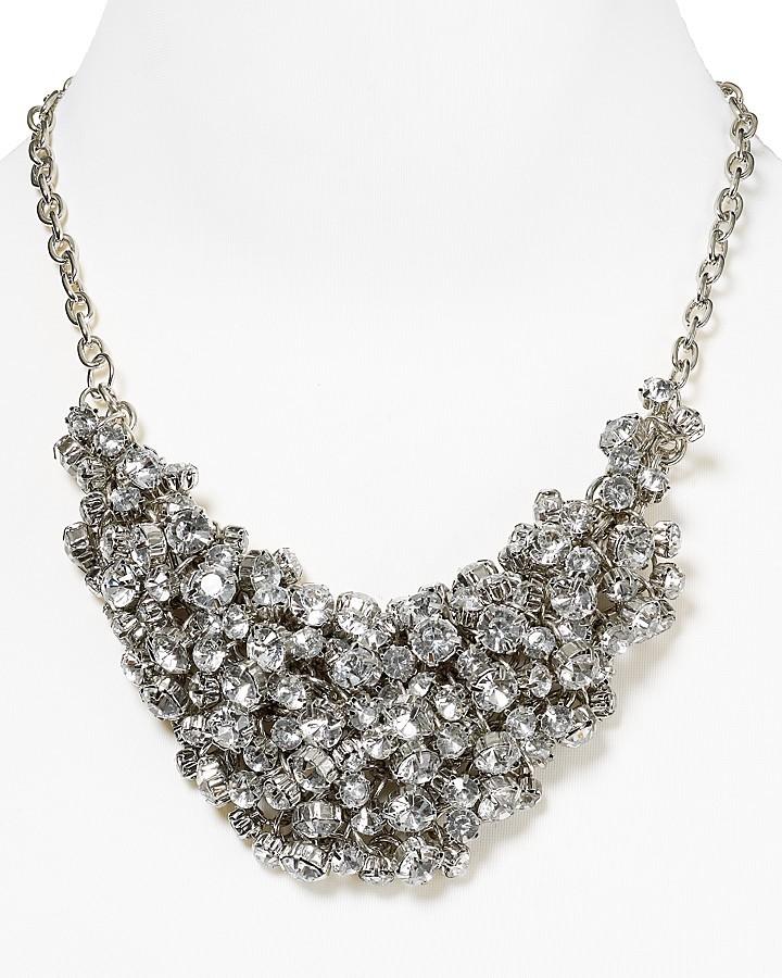 "Aqua Jewel Tone Cluster Bib Necklace, 18"""