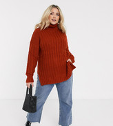 Simply Be roll neck sweater in rust