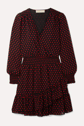 MICHAEL Michael Kors Wrap-effect Ruffled Polka-dot Georgette Mini Dress - Black