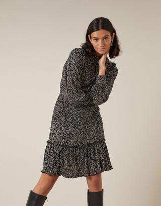 Monsoon Printed Jersey Plisse Tiered Short Dress Black