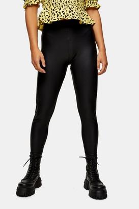 Topshop Womens Petite Black Coated Faux Leather Leggings - Black