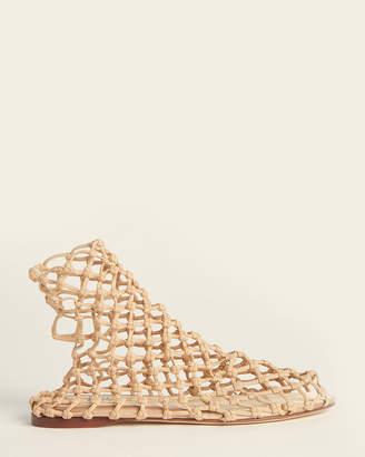 Francesco Russo Nude Elastic Net Flat Sandals