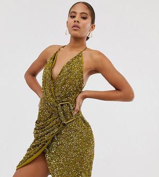 Asos Tall DESIGN Tall allover sequin drape mini dress with horn buckle-Brown