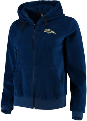 Women's Navy Denver Broncos Velour Suit Full-Zip Hoodie