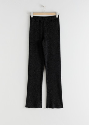And other stories Plisse Pleated Fitted Trousers