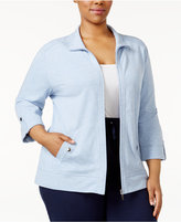 Karen Scott Plus Size Lounge Jacket, Created for Macy's