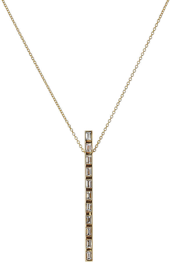 Ileana Makri 18K Yellow Gold Prince Baguette Pendant with Diamonds