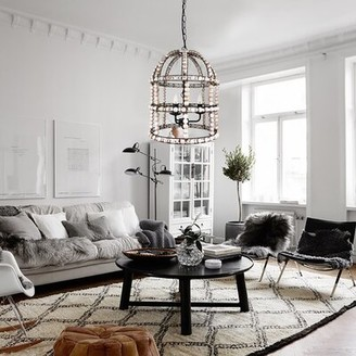 Dakota Fields 3 - Light Unique Geometric Chandelier with Beaded Accents