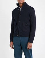 SLOWEAR High-neck wool knitted bomber jacket
