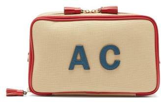 Anya Hindmarch Walton Customisable Leather And Canvas Wash Bag - Womens - Red Multi