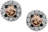 LeVian Le Vian Chocolate Diamond (1/4 ct. t.w.) and White Diamond Accent Stud Earrings in 14k White Gold