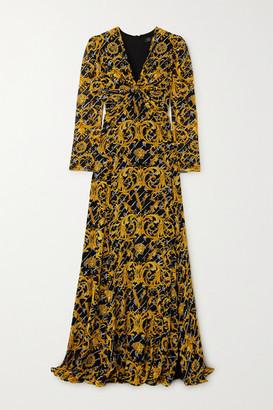 Versace Crystal-embellished Twist-front Printed Silk-crepe Gown - Black