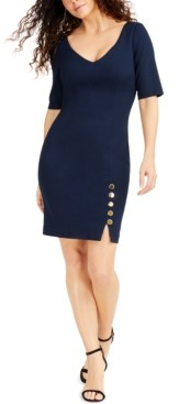 Trina Turk Ponte-Knit Button-Hem Dress