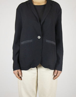 Busby & Fox - Raven Soft Tailored Jacket - Small | rayon | black - Black/Black