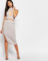 Club L Rib Detail Midi Skirt
