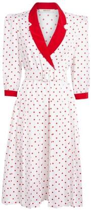 Rodarte Belted Polka Dot Midi Dress