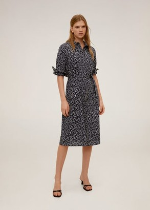 MANGO Cotton shirt dress dark navy - 2 - Women