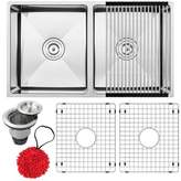 """3.1 Phillip Lim Ticor Sinks Pacific Series 16-Gauge Stainless Steel L x 18"""" W Double Basin Undermount Kitchen Sink with Additional Accessories Ticor Sinks"""