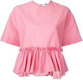 MSGM pleated hem short sleeve top - women - Cotton - 44