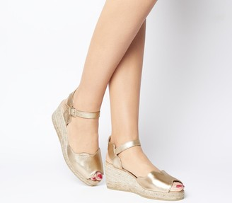 Gaimo For Office for OFFICE Round Wedge Espadrilles Gold