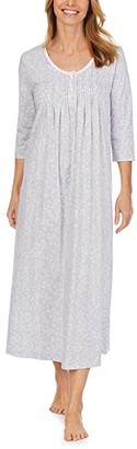 Carole Hochman Soft Jersey 3/4 Sleeve Long Gown (Grey Ground Floral) Women's Pajama