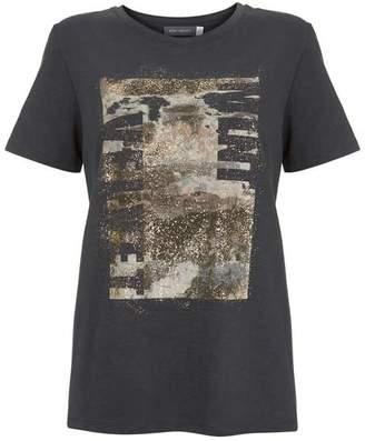 Mint Velvet Grey Foil Print Slogan T-Shirt