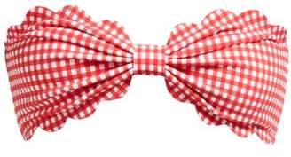 Marysia Swim Antibes Gingham Scallop-edged Bandeau Bikini Top - Womens - Red White