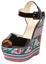 Giuseppe Zanotti Embroidered Wedge Sandal