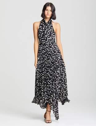Halston Cowl Pleated Dress