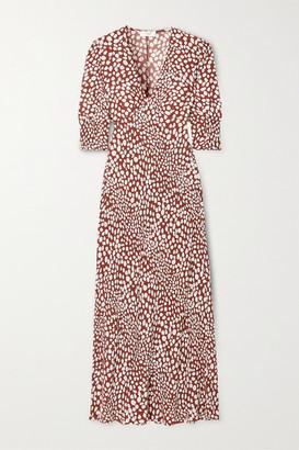 Rixo Zadie Printed Crepe De Chine Maxi Dress - Leopard print