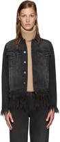 MSGM Black Denim Fringed Cat Jacket