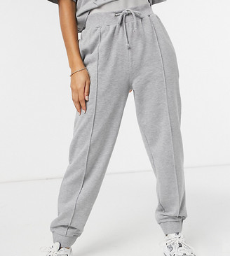 Reclaimed Vintage inspired oversized trackies in grey marl with pintuck
