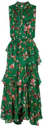 MISA Ilona Floral-print Chiffon Midi Dress