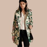 Burberry Peony Rose Print Cotton Trench Coat