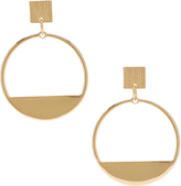 Carole Goldtone Square-Accent Hoop Earrings