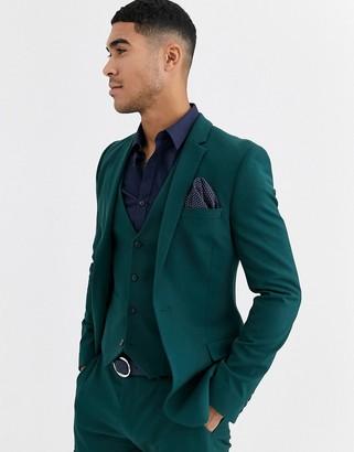 ASOS DESIGN super skinny suit jacket in forest green