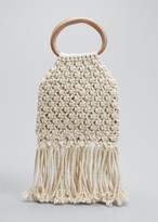 Nanushka Maeve Crochet Fringe Top Handle Bag
