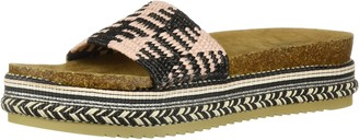 LFL by Lust for Life Women's LL-Pike Wedge Sandal Black Raffia 6 Medium US