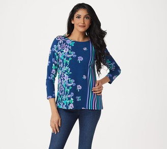 Bob Mackie Floral Stripe Pullover Knit Top