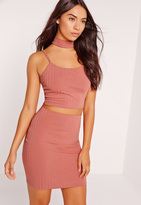 Missguided Choker Neck Ribbed Cami Crop Top Pink