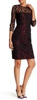 Carmen Marc Valvo 3/4 Sleeve Lace Dress